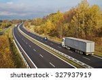 asphalt highway with white... | Shutterstock . vector #327937919