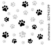 dog paw print seamless pattern... | Shutterstock . vector #327943199