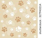 dog paw prints seamless pattern ... | Shutterstock . vector #327943214
