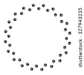 Black Dog Paw Prints Circlel...