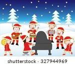children holding christmas... | Shutterstock .eps vector #327944969