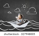 businessman escapes from the... | Shutterstock . vector #327948005