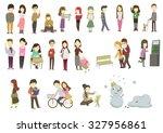 men and weman  winter fashion... | Shutterstock .eps vector #327956861