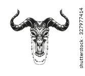 bull skull with traditional... | Shutterstock .eps vector #327977414