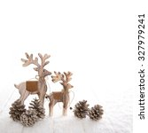Couple Of Two Wooden Deer With...