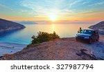 Sea Sunset View Of Myrtos Beach ...