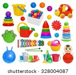 set of plastic toys  pyramid ... | Shutterstock . vector #328004087