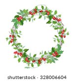 round christmas wreath with... | Shutterstock .eps vector #328006604