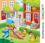 children playing in the town | Shutterstock .eps vector #328012877