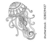 hand drawn jellyfish zentangle... | Shutterstock .eps vector #328029437