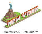 new york city isometric text... | Shutterstock .eps vector #328033679