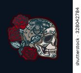 day of the dead. mexican skull. ... | Shutterstock .eps vector #328042784