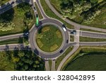 aerial view of roundabout in... | Shutterstock . vector #328042895