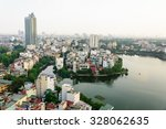 hanoi cityscape at sunset.... | Shutterstock . vector #328062635