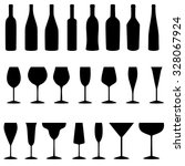 set of bottles and glasses... | Shutterstock .eps vector #328067924
