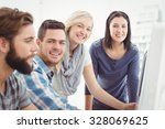 portrait of cheerful business... | Shutterstock . vector #328069625
