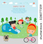 kids at playground  kids time...   Shutterstock .eps vector #328077359