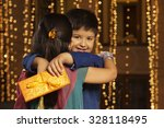 portrait of boy hugging girl | Shutterstock . vector #328118495