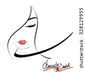 female face silhouette with... | Shutterstock .eps vector #328129955