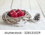 Wreath  Red Candles  Wooden...