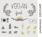 icons vegan food with floral... | Shutterstock .eps vector #328131689