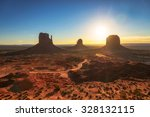 beautiful sunrise at monument... | Shutterstock . vector #328132115