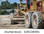 grader leveling gravel on road... | Shutterstock . vector #328138481