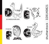 deutsch alphabet. dinosaur  egg ... | Shutterstock .eps vector #328140821