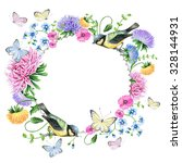 watercolor floral frame with... | Shutterstock . vector #328144931