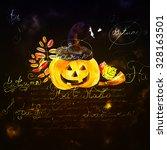 watercolor pumpkin day halloween | Shutterstock . vector #328163501