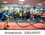 fit people working out in... | Shutterstock . vector #328165937