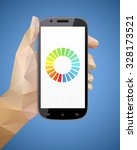 hand holding smart phone vector ... | Shutterstock .eps vector #328173521