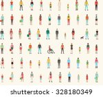 People seamless pattern with set of flat characters, men, women, kids