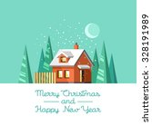 winter house. christmas and... | Shutterstock .eps vector #328191989