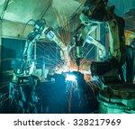 team robot welding movement... | Shutterstock . vector #328217969