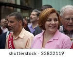 NEW YORK - JUNE 28: NY state governor David Paterson and NYC council speaker Christine Quinn attend pride parade on June 28 2009 in New York City. - stock photo
