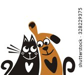 Stock vector cat and dog friends cute cartoon vector illustration 328229375