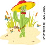 a green stylish cactus gunman | Shutterstock .eps vector #32823007