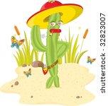 a green stylish cactus gunman | Shutterstock .eps vector #32823007