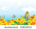 butterfly flit from flower to... | Shutterstock .eps vector #32823013