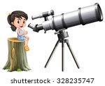 little girl looking through... | Shutterstock .eps vector #328235747