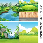 four different nature scenes... | Shutterstock .eps vector #328243454