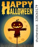 halloween theme with scarecrow... | Shutterstock .eps vector #328263179
