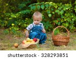 little boy with a basket of... | Shutterstock . vector #328293851