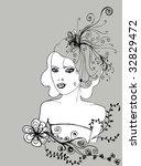 vector floral girl | Shutterstock .eps vector #32829472