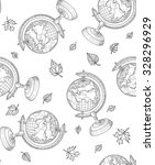 sketch globe and autumn leaves...   Shutterstock .eps vector #328296929