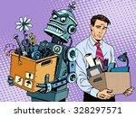 new technologies robot replaces ... | Shutterstock .eps vector #328297571