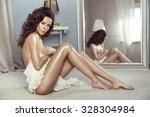sensual brunette woman posing... | Shutterstock . vector #328304984