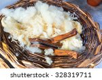 Close Up Of Rough Wool Basket