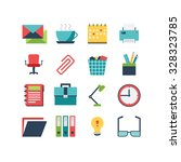 a set of office related icons ... | Shutterstock .eps vector #328323785